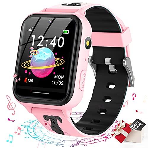 Smooce Kinder Smartwatch Telefon,Spiele Musik Smart Watch für Kinder[1 GB Micro SD Enthalten],Kids Smart Watch mit SOS Anruf Kamera Spiele Wecker Musik Player für Jungen Mädchen (Pink)