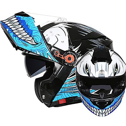 Modular Casco Moto Integral Modulares Casco Doble Visera Anti-Rasguños y Protección ECE/DOT Homologado Mujer Hombre Adultos Ciclomotor,Scooter Casco de Protección A,XXL=60~62cm