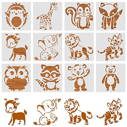 Tiermalerei Schablone,12 Stück Zeichenschablonen Kunststoff Malschablonen Malerei Vorlage Stencil Schablonen Wiederverwendbar Malvorlagen für Kinder DIY Ostern Scrapbook