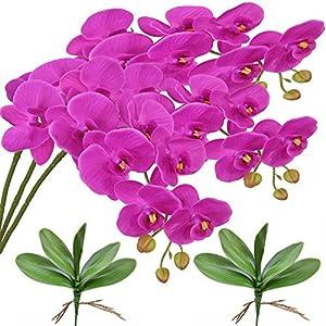 FagusHome 32″ Flores Artificiales de Phalaenopsis de 3 Piezas con 2 Paquetes de Hojas Flores Artificiales de orquídeas Plantas Madre para la decoración del hogar (Púrpura)