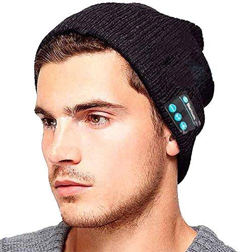 ShallGood Unisex Bluetooth Beanie Cappello Con La Cuffia Senza Fili Bluetooth Auricolare Stereo Speaker Mani Mic Libera Esterno Di Inverno All Aperto A- Vino One Size