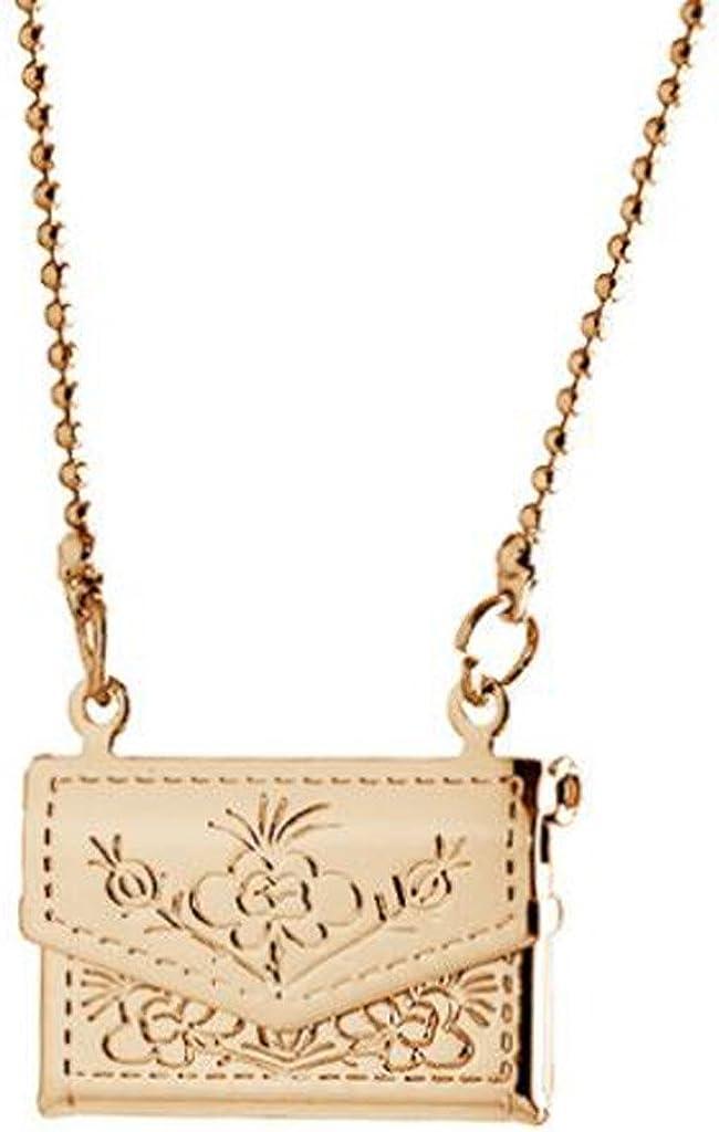 Memory Locket Rectangle Bag Shaped Pendant Necklace Photo Mom Grandma Child Picture Charm Gold-tone
