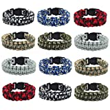 FROG SAC 12 PCS Paracord Bracelets for Men, Camo Survival Tactical Bracelet Braided with 550 lbs Parachute Cord, Camping Gifts Accessories for Teens, Military Gear Army Theme Party Favors
