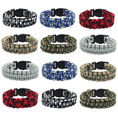 Paracord Bracelets for Men, Boys,Teens 12 PCs - Camo Survival Tactical Bracelet Braided with 550 lbs Parachute Cord - Camping Gifts, Scouts Accessories - Military Gear- Army Theme Party Favors