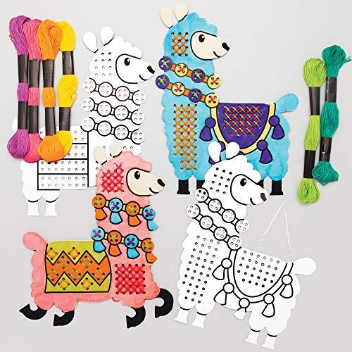 Baker Ross Kits Punto de Cruz Llama para Colorear - Juego de manualidades para niños (paquete de 5)