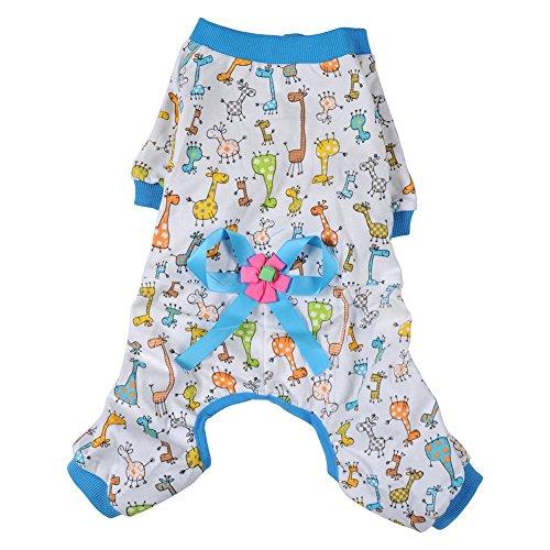 Pyjama Coton Doux Combinaison Cartoon Vêtements de Nuit Pour Chiot Petit Chien - Bleu, M