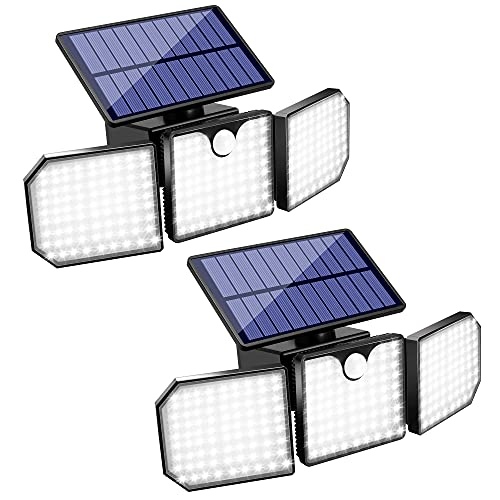 Quiltered Solar Lights Outdoor Motion Sensor 3 Adjustable Heads Spotlights Security Lights, Waterproof Wall Flood Lights for Porch Garden Garage Patio, 230 LED 2200LM 7000K White Light (2pack)