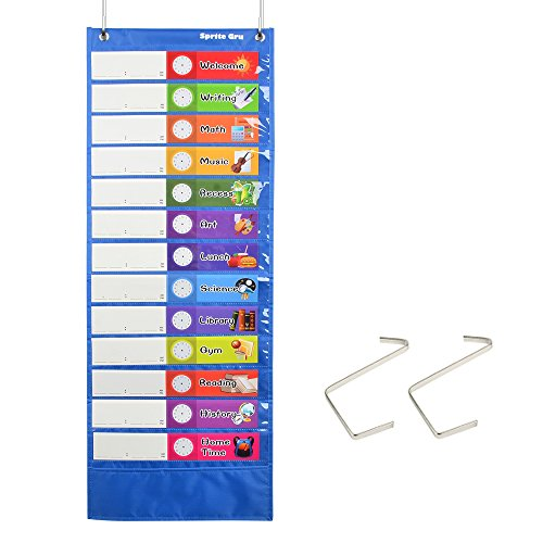 "Daily Schedule Pocket Chart, Class Schedule with 26 Cards, 13+1 Pockets. 13 Colored + 13 Blank Double-Sided Reusable Cards, Easy Over-Door Mountings Included. (13"" x 36"")"