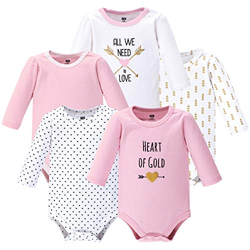 Hudson Baby Unisex Baby Cotton Long-sleeve Bodysuits, Heart, 9-12 Months