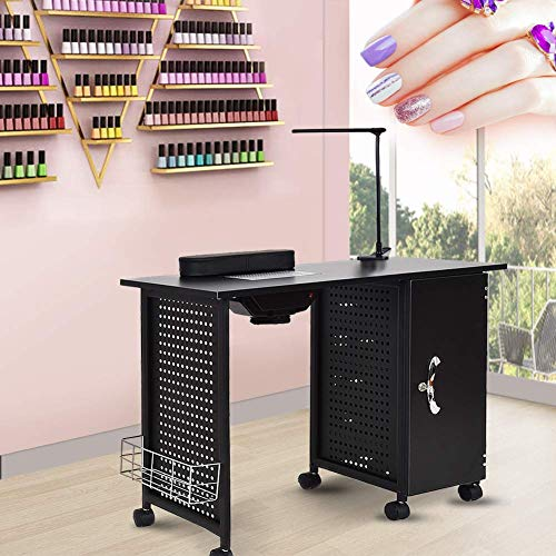 Manicure Nail Table,WaterJoy Nail Station Table Manicure Steel Frame Table Salon Spa Table Nail Art Desk Workstation Beauty Salon Equipment Drawer with LED light,Nails Lamp Table 5 drawers Black