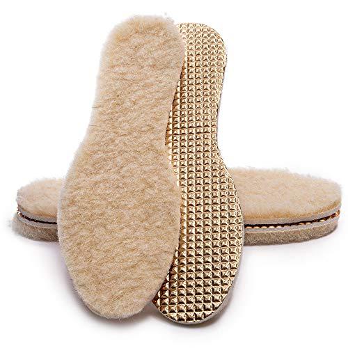 SULPO 2 Paare Einlegesohlen mit Schafwolle - Wolle und Aluminium - Thermo Alu Schuheinlagen- Einlagen für Winterschuhe, Gr. 36-46 (44)