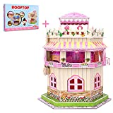 3D Puzzle Dollhouse for Kids, 3D Jigsaw Puzzle for Girls - Educational Paper Craft Toys for Game Xmas Birthday Gifts, Easy to Assemble with LED Light - 101 Pieces