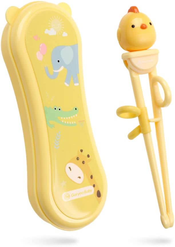 Goryeo Baby Training Chopsticks for Kids - Use Completely Harmless Material - Anti-dislocation Buckle Design - Includes Portable Box (Yellow)