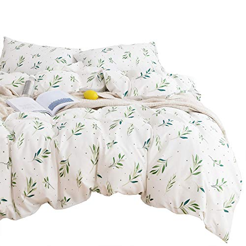 Wake In Cloud - Tree Leaves Comforter Set, 100% Cotton Fabric with Soft Microfiber Fill Bedding, Green Botanical Plant Leaves Dots Pattern Printed on White (3pcs, Queen Size)