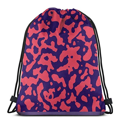 BXBX Trasportare Bags Organic Seamless Pattern In Red And Navy Shoulder Backpack Drawstring Backpack Nylon Folding Bag for School Home Travel Sport
