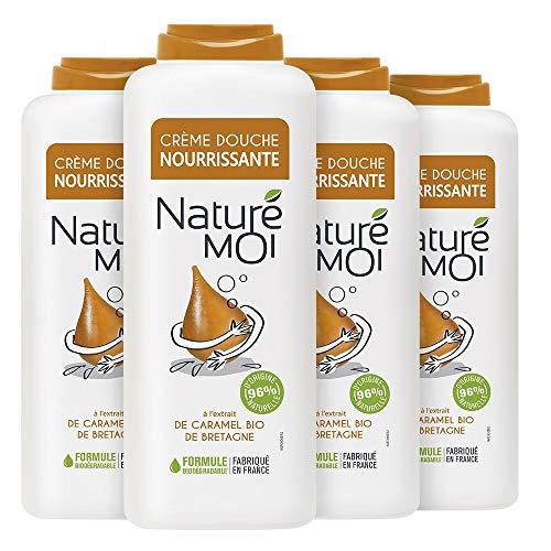Naturé Moi – Crème douche à l'extrait de caramel bio de Bretagne – Hydrate et nourrit les peaux normales à sèches – Lot de 4 – 400ml