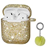 Airpods Case, DMMG Airpods Case Cover Silicone Skin, AirPods Protective Bling Glitter Case with Fluff Ball Keychain, Scratch Proof and Drop Proof for Apple Airpods 2&1 (Gold)