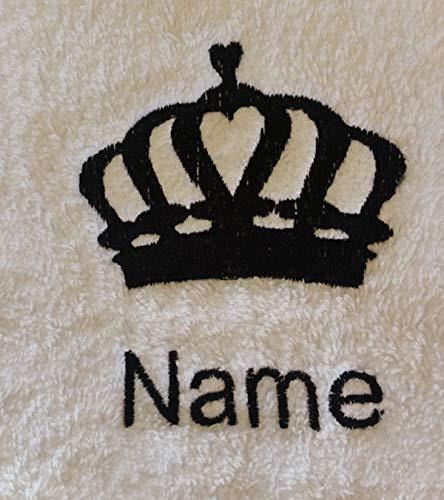 EFY Peignoir à capuche pour enfant avec logo Queen Crown et nom de votre choix en rose 2, 4, 6, 8, 10 ou 12 ans (2 ans)
