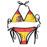 MASDUIH Spanish Flag Swimsuits Bikinis Thong Swimsuit for Beach Beach Swimming Black