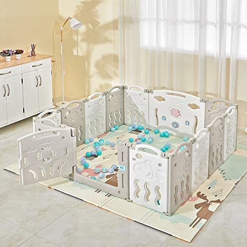 Laufgitter Laufstall Zusatzpaket Baby Absperrgitter Krabbelgitter Schutzgitter Laufställe mit Tür und Spielzeug für Kinder von 0 bis 6 Jahren aus Kunststoff Grau+weiß (12+2)