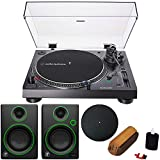 Audio-Technica AT-LP120XUSB Direct-Drive Turntable Analog/USB, Black + Audio Immersion Bundle w/Platter, Vinyl Record Cleaning System & Mackie 3' Creative Reference Multimedia Monitors (Pair)