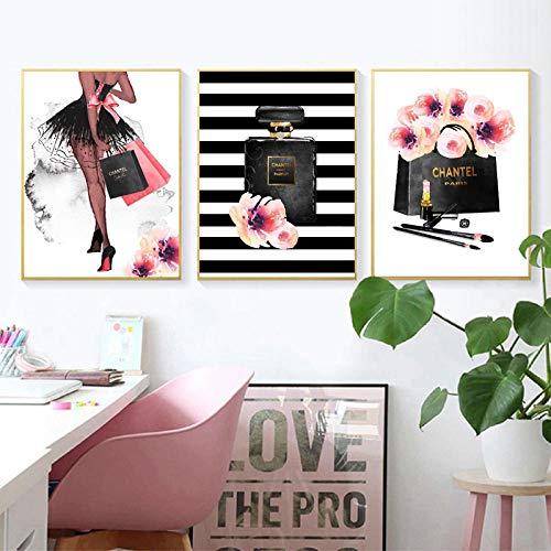 HUANGXLL Fashion Wall Art Prints Black Woman Poster Perfume High Heels Fashion Illustration Canvas Painting Girls Room Decor-30x50cmx3Pcs-No Frame