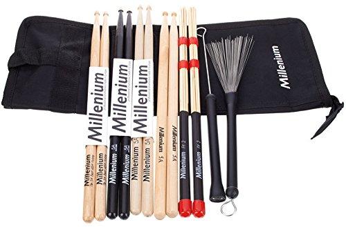 Juego completo de baquetas y bolsa Millenium Drumstick Juego 1