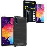 ANNART Coque pour Galaxy A50 SM-A505F 6.4', Coque Silicone Souple en Fibre de Carbone Brossé Motif...