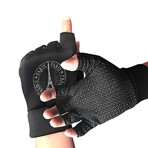 Belindaa Paris-Eiffel-Tower Unisex Outdoor Sports Cycling Shockproof Half Finger Non-Slip Gloves for Fishing Driving Roller Hunting Climbing Gloves
