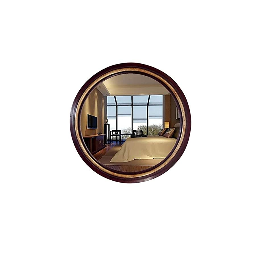 安定した隠す麻酔薬XZGang レトロなラウンドミラー、高精細防水浴室の化粧鏡リビングルームの廊下壁掛け装飾鏡 超クリア (Size : 42*42CM)