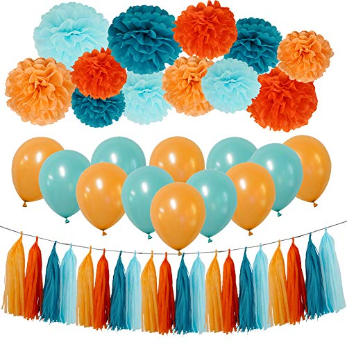 Teal Party Decorations Kit - Tissue Paper Pom Poms, Tissue Paper Tassel, Balloons Party Supplies for Birthday, Bachelorette Party, Festivals, Carnivals, Graduation