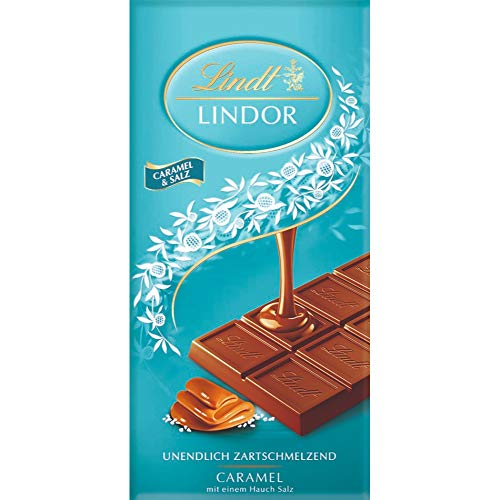 Lindt LINDOR Tafel, Caramel & Salz, Vollmilch Schokolade Caramel mit einem Hauch Salz, 1er Pack (1 x 100 g)