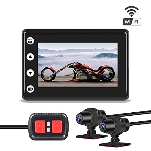 VSYSTO Motorcycle Video Driving Recorder Dash cam Dual 2 Channels Lens Front & Rear 1080P Backup Camera with WiFi 3' IPS Screen Full Body Waterproof Night Vision (GPS/Metal Handlebar:Optional)