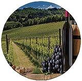 Tapis de souris rond en caoutchouc antidérapant décor de cave bouteilles de vin rouge avec raisins sur planche de bois et décor de terrasse italienne Toscane vert bleu brun 7.9'x7.9'x3MM