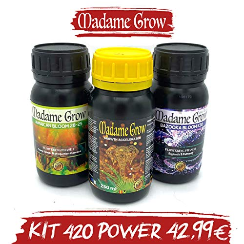 MADAME GROW   Kit 420 Power TRIPACK Fertilizzanti o Concimi per Marijuana - 3 x 250 ml - Potere per Le tue Piante