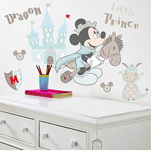 Dessin Animé Mickey Mouse Prince Château Dragon Stickers Muraux Chambre Chambre D'Enfant Décor À La Maison Disney Stickers Muraux Pvc Peinture Murale Bricolage Affiches 40X50Cm