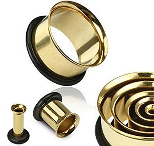 Oro 00GA (10 mm) solo acampanado chapado en oro quirúrgico túnel de carne de acero inoxidable anillo anillo de oreja calibre pendiente