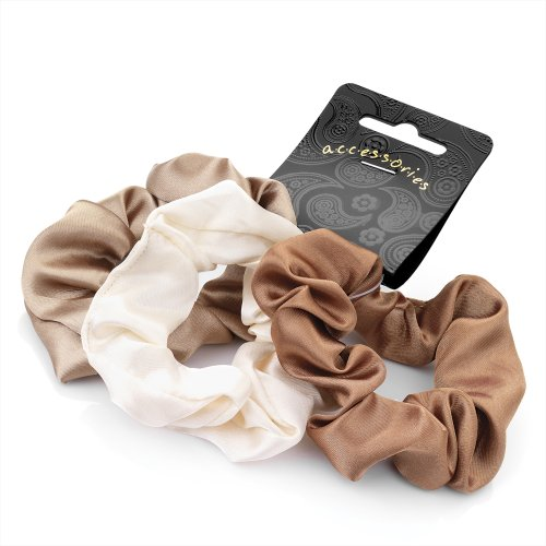 Set of 3 satin hair scrunchies in shades of brown. Useful hair accessory. by Generic