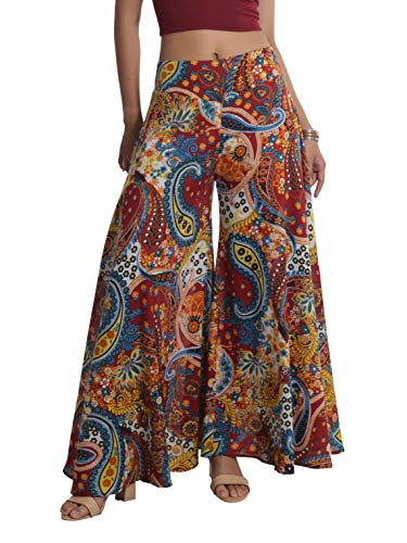 Tropic Bliss Women's Boho Wide Leg Palazzo Pants, Colorful Bohemian Print Hippie Style Loose Summer Beach Pants - Red and Blue Paisley XXL