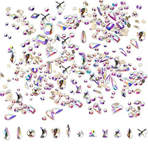 Ealicere 1848 Stücke Kristall Strass Set Multi Formen 6 Größen Rund Glitzersteine 120 Unregelmäßige Forme Schmucksteine Diamant Edelsteine für Nägel/Kleidung/Handwerk DIY