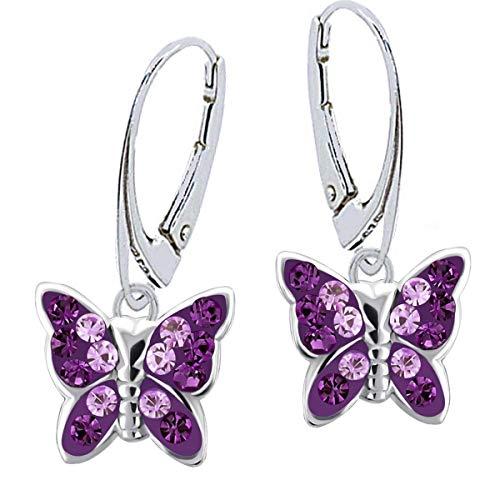 Kristall Schmetterling Klapp-Brisur Ohrringe 925 Echt Silber Mädchen Kinder Ohrstecker Ohrhänger (2) Lila-Amethyst)