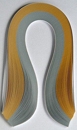 Enitan Quilling Papierstreifen, Streifen Farbe metallic Gold und Silber, breit 3mm / 5mm, 350mm Länge, 150 Stück.(Breite/Largezza/Width 3mm)