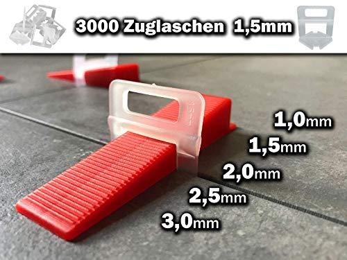 500-9000 Stück 1-3mm freie Auswahl - Das GÜNSTIGE Fliesen Nivelliersystem - Zange Keile Zuglaschen individuell zusammenstellen - frei wählbar Mega-Auswahl an Variationen (3000 Laschen, 1,5mm)