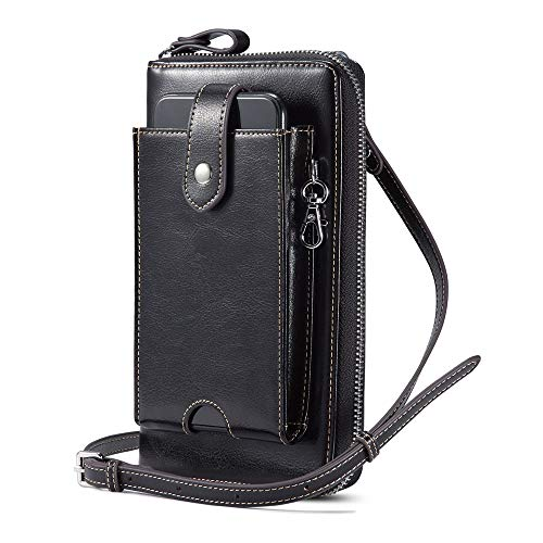 Lecxci Women Leather RFID Blocking Wristlets Purses Cell Phone Crossbody Bag Wallets with Removable Checkbook Cover (Black)
