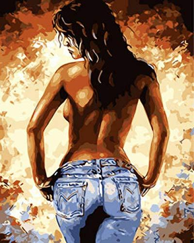 DQCY Pinturas Decoración del Hogar Chica Desnuda con el Pelo Largo por Números Kit Este Kit de Pintura por números es Adecuado para Todos,