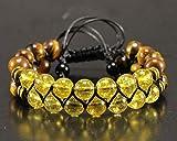 Natural Citrine Onyx Beaded Adjustable Double Macrame Bracelet Protection Yoga Mala Men's Bracelet Women's Crystal Shamballa Row Bracelet