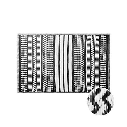 Butlers Colour Clash 120x180 cm Outdoorteppich Ethno - schwarz-weißer Teppich - für Balkon und Terrasse geeignet - auch Indoor - Ornamente Mosaikform