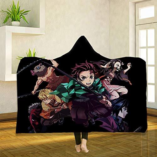 Manta de forro polar con estampado 3D de Demon Slayer con capucha, para cama y sofá, color A_150 x 200 cm
