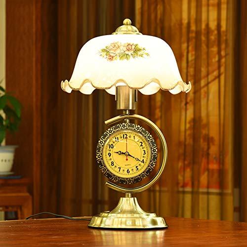 Schreibtischlampe und Uhr Dimmable Retro Antique Study Büro Altmodisch Beleuchtung Schlafzimmer Nachttischlampe Kamelie Weiß Glasschirm Antik Messing Chrom Metall Tischlampe E27 Mit Schalter