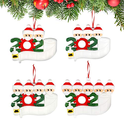 DELUX Personalized Quarantine 2020 Christmas Ornament Kit 4 Pack Survivor Family of 2-5, Christmas Tree Hanging Decoration Pendant Customized Name with Toilet Paper Hand Sanitized ,Creative Xmas Gift